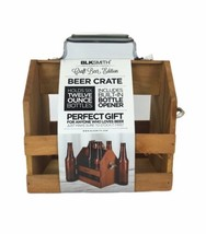 BLKSmith Wood 6-Pack Beer Crate Holder w/ Built In Bottle Opener Gift NEW - $12.36
