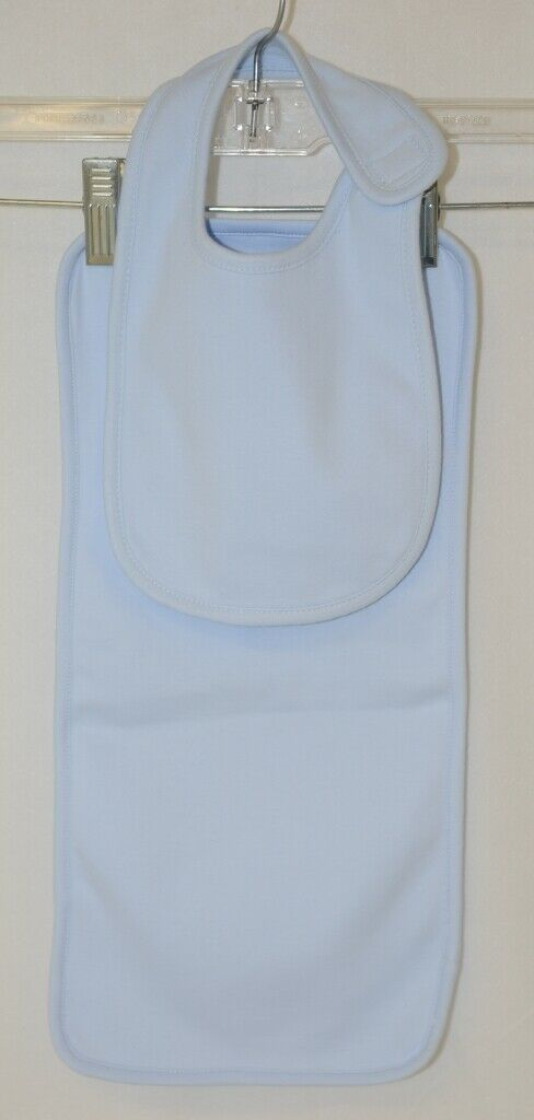 Blanks Boutique Light Blue Cotton Baby Bib And Burp Cloth Set