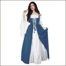 Cornflower Blue Lace Up Kittle Skirt Long Flair Sleeves Off Shoulder Gown  - $79.95