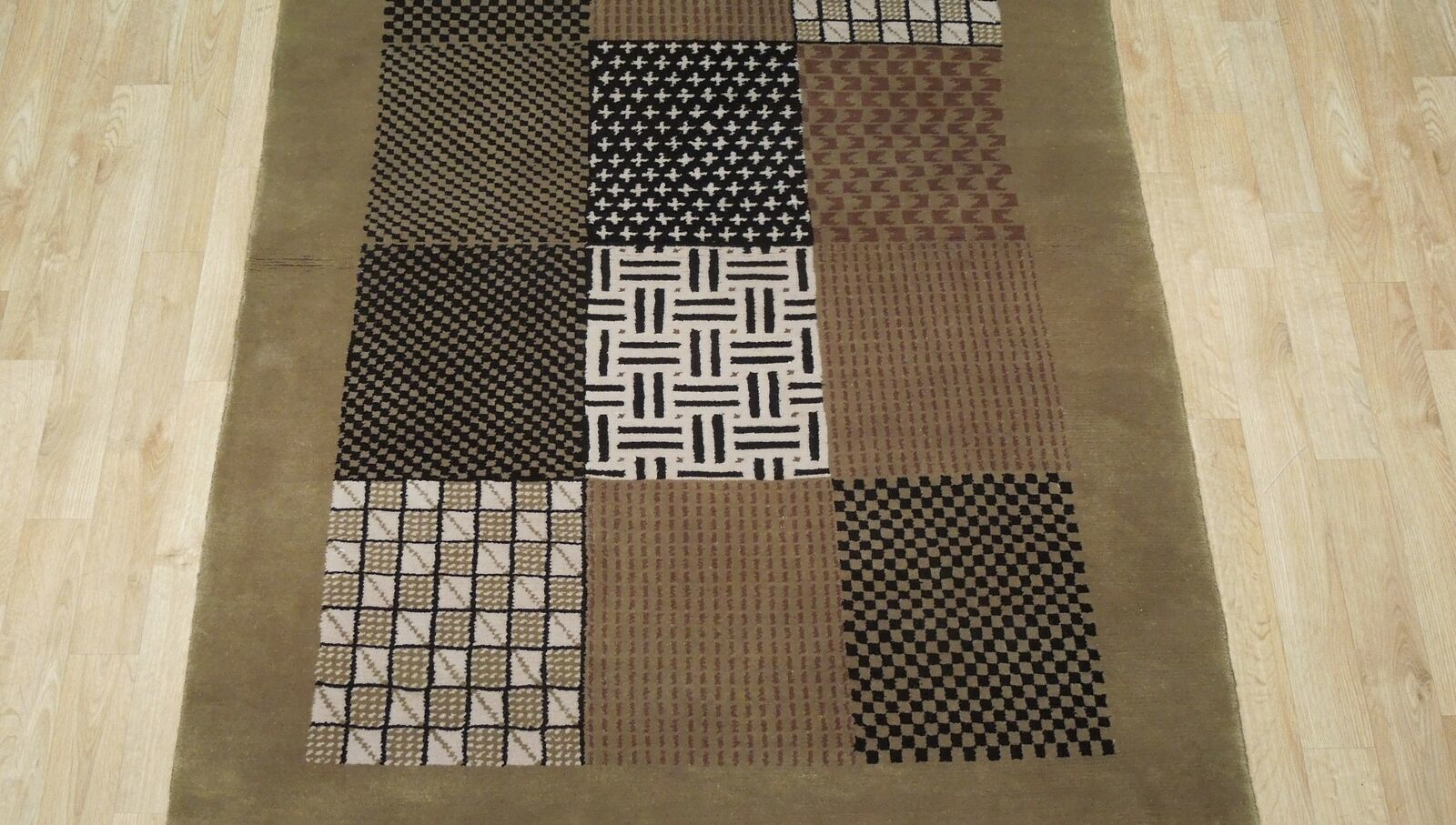 4 x 6 New Checked Multi-Color Modern Wool Genuine Handmade Rug