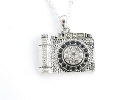 Camera Photography Photographer Photo Crystal Silver Chain Necklace Jewelry - $12.65