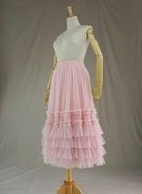 Pink Tiered Tulle Midi Skirt Pink Princess Tulle Tutu Midi Skirt Outfit Wedding  image 5