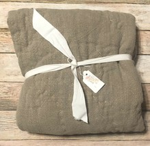 Pottery Barn Organic Washed Cotton Euro Pillow Sham Flax Pickstitch Quil... - $44.06