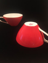 2 Noritake Orange and White tea cups - Vintage 50s flat cup with gold trim - $28.00