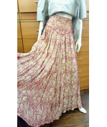 JACQUARD LINEN PARTY SKIRT UNIQUE FLARE MAXI POCKETS MADE IN EUROPE 10 M... - $524.00