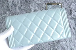 100% AUTH CHANEL PEARLESCENT BLUE QUILTED LEATHER BOY TRI-FOLD WALLET CLUTCH  image 2