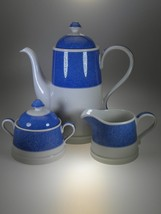Spode Vermicelli Blue Coffee Pot, Creamer & Covered Sugar NEW WITH TAGS England - $75.70
