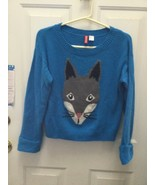 H&M Divided Fox Face Blue Wool Sweater Womens Juniors Size 6 - $14.85