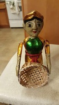 Vintage Color Puppet Wooden Carved Man with Basket , Worth $40+ , Tall 7... - $9.99