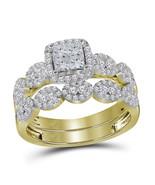 1Ct 14K Gold Diamond Princess & Round Bridal Halo Engagement Ring Set - $593.26