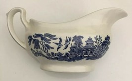 Churchill of England Blue Willow Gravy Boat With Old Stamp - $14.84