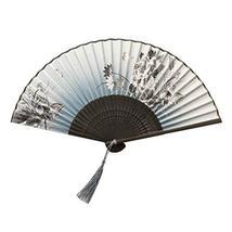 Panda Superstore Elegant Modern Woman Holding Painted Fan Silk Hand Fan Folding