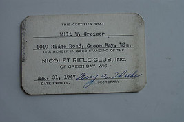 Vintage 1947? Nicolet Rifle Club of Green Bay Wisconsin Member Card Milt... - $9.99