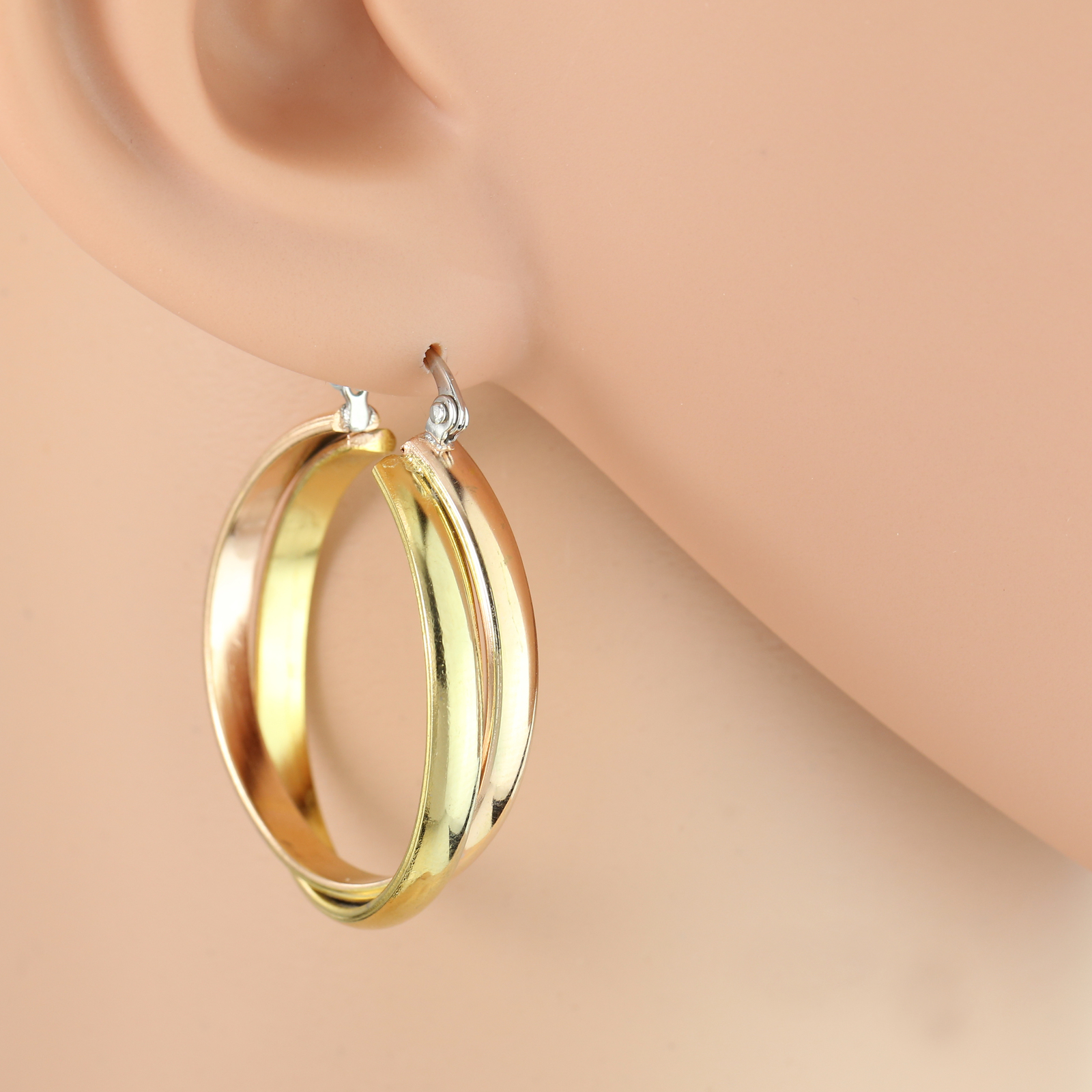 Twisted Rose & Gold Tone (Two-Tone) Polished Hoop Earrings- United Elegance