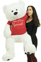 Giant White Teddy Bear 52 Inches Wears Removable Red Tshirt You Are Special - $97.11
