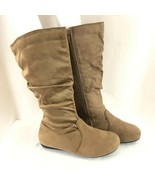 Forever Womens Boots Faux Suede Slouchy Zipper Brown Size 5 - $24.18