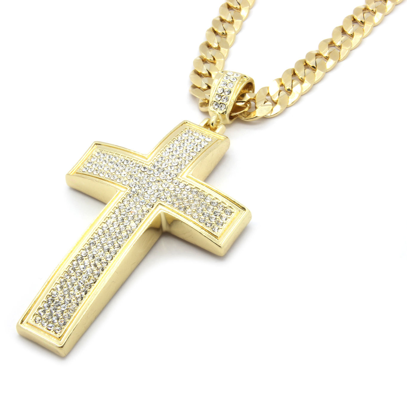 "Mens Gold Iced Out Cross Pendant Hip-Hop 30"" Inch Cuban Necklace Chain K2"