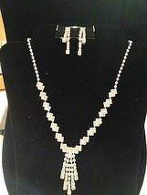 Costume Fashion Jewelry RHINESTONE NECKLACE AND EARRING ADJUSTABLE CHAIN - $16.83