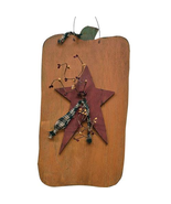 Hanging Pumpkin w/ Primitive Star Rustic Door Wall  - $39.99