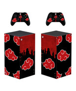 Xbox Series X Console Controllers Skins Vinyl Decals Naruto Akatsuki Red Clouds - $13.99