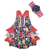 New arrival baby red flower ruffles romper with headband - $14.62
