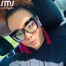 2021 Anti-blue Big Glasses Frames Optical Women Sunglasses Retro Oversized Eyegl image 4