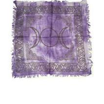 Altar Cloth 18x18 inch: Triple Moon, Purple | Pagan | Witch | Goth - $10.40