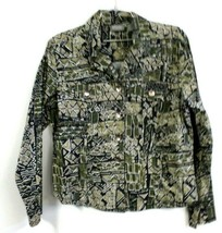 Additions By Chicos Womens Size 1 Green Black Batik  Print ZIP Up Jacket... - $39.00
