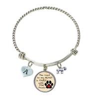 Custom Bulldog Road to My Heart Paw Print Silver Wire Bracelet Choose Initial - $17.99