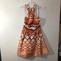 Jessica Simpson Orange Abstract Halter Dress SZ 12 Diamond Medina Lined Zip Side - $38.56