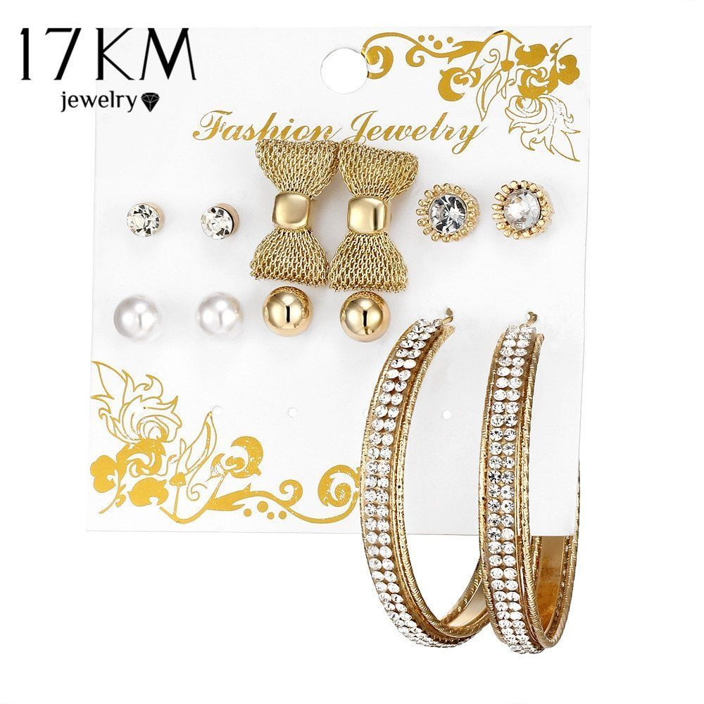 17KM® 6 pair/set Bow Knot Simulated Pearl Crystal Stud Earrings Round Big Circle