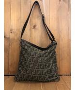 Authentic FENDI Zucca Brown Jacquard Flat Messenger Bag Mens Unisex  - $575.00