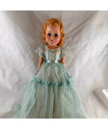 """1950s Doll 12"""" Blond Hair Blue eyes Lovely habd made dotted swiss dress - $19.79"""
