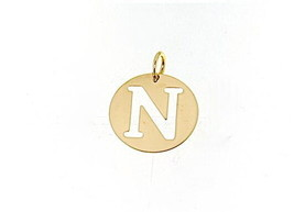 18K YELLOW GOLD LUSTER ROUND MEDAL WITH LETTER N MADE IN ITALY DIAMETER 0.5 IN image 1