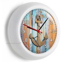 NAUTICAL ANCHOR AND ROPE RUSTIC WOOD WALL CLOCK BEDROOM LIVING ROOM OFFI... - $23.39