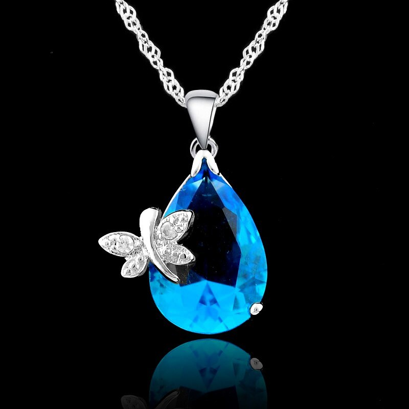 Primary image for 925 Sterling Silver Elegant Blue Water Drop Shape Cubic Zirconia With Butterfly