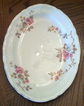 Knowles Pottery Platter Pink Wild Country Rose Floral Vintage Cottage Tablescape - $19.75