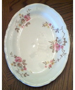 KNOWLES pottery PLATTER Pink Wild Country Rose Floral VINTAGE COTTAGE TA... - $19.75