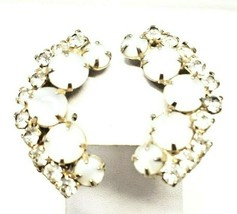 "Vintage 1-1/2"" Clear Rhinestone White Givre Clip On Climber Earrings  - $22.50"