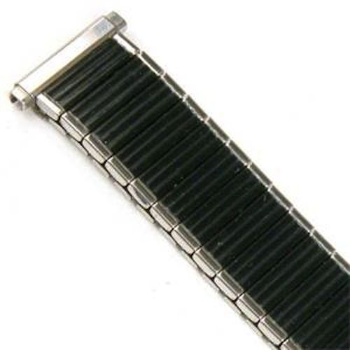 Primary image for Mens 16-19mm XL Black Silver Twist O Flex Stretch Expansion Watch Band Strap