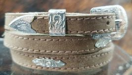 BROWN HATBAND Natural Leather with SILVER CONCHOS and BUCKLE SET Hat Band - $16.39