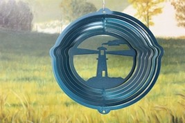 8 in stainless steel teal light house USA 3D hanging yard wind spinner, ... - €14,69 EUR