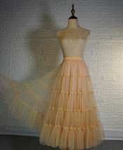 Gold Apricot Floor Length Tulle Skirt Sparkle Long Tiered Tulle Holiday Outfit image 1