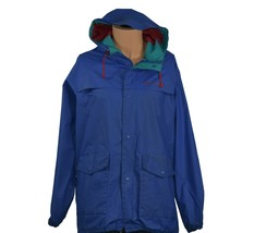 Vtg Vintage Columbia Men's Long Sleeve Zip Up Blue Rain Jacket - $34.99