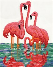 """Design Works Counted Cross Stitch Kit 11""""X14""""-Flamingos (14 Count) - $28.49"""