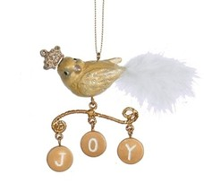 "Kurt Adler 4"" Gold Bird with Dangling ""Joy"" Charms Christmas Ornament - $10.63"