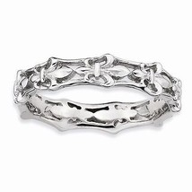 STERLING SILVER STACKABLE EXPRESSIONS FLEUR DE LIS  BAND / RING - SIZE 6 - £18.92 GBP