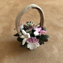 Vintage Capodimonte Italian Porcelain Basket multi color mini Flower fig... - $21.50