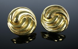 Vintage Gold Toned ST. JOHN Round Swirl Signed Clip On Costume Jewelry E... - $35.90