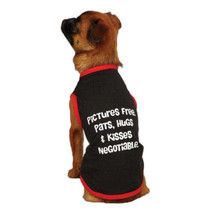 Casual Canine PICTUES FREE PATS HUGS & KISSES NEGOTIABLE BLACK TANK TOP ... - $2.99